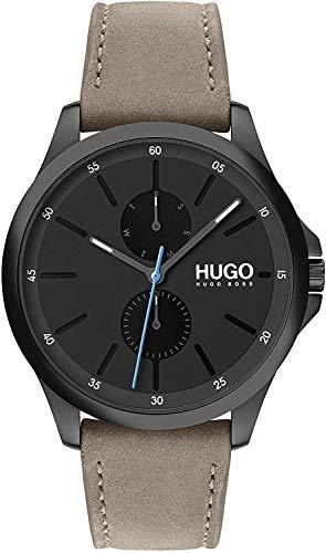 Hugo Herren Multi Zifferblatt Quartz Uhr Jump mit Leder Armband