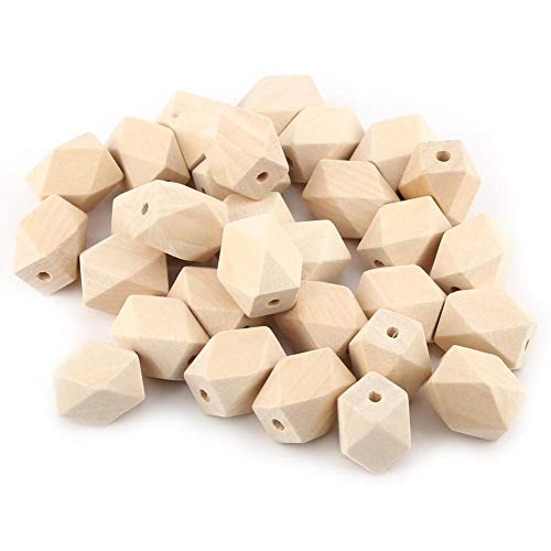 Yosoo Unfinished Wooden Beads for Necklace Bracelet DIY Craft-Geometric, Pack of 30