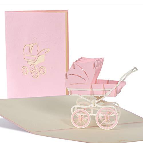 Pop Up Karte mit rosa Kinderwagen aus Papier, Glueckwunschkarte zur Geburt von Maedchen, Baby Dusche G13.3