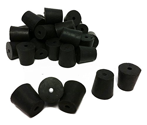 GSC International RS-3-1 Rubber Stoppers, Size 3, Drilled 1-Hole (1-Pound Pack),Black