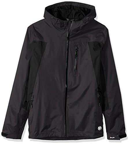 Wrangler Men's Waterproof Zip Front Rain Jacket-Big and Tall, Black/Grey, LT