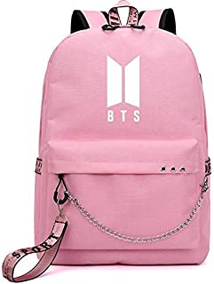 Korean Fashion BTS Bangtan Boys Letter Backpack Love Yourself USB Charging Travel Bag