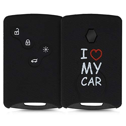 kwmobile Funda Compatible con Llave de 4 Botones para Coche Renault (Solamente Keyless Go) - Carcasa Protectora Suave de Silicona - I Love my Car