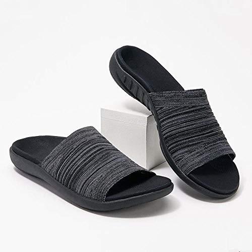 YYFF Zapatillas Flip Flops Sandal,Pantofole piatte da indossare sul pavimento,Moda Donna-Nero_45,Hombre Chanclas Suela