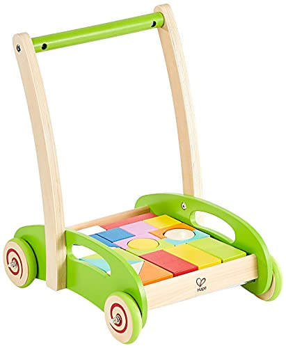 Hape Block and Roll Cart Toddler Wooden Push and Pull Toy Multicolored, L: 13.9, W: 11.1, H: 16.1 inch