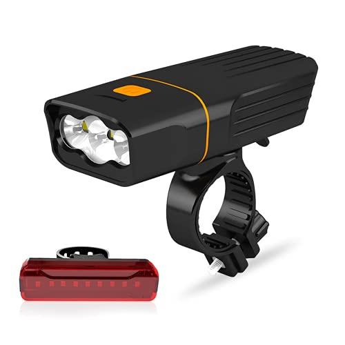 DLZP Juego de luces de bicicleta con advertencia de seguridad LED linterna de carga USB, luz fuerte, luz de tres ojos integrada para bicicleta de montaña, etc. Adecuado para todas las bicicletas