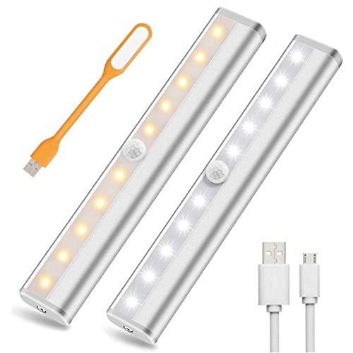 LED Luz Nocturna Luces Armario Con Sensor Movimiento 10 LED Cabinet Light,USB Recargable Closet Light Para Armario Pasillo Escalera SóTano Cocina Garaje Gabinete (2 PACK)