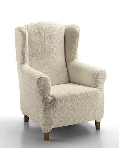 Textil-home Stretchhusse für Ohrensessel Marian, Elastisch Bezug für Fernsehsessel Liege - 1 Sitzer - 70 a 100Cm. Farbe Elfenbein