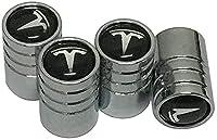 テスラモデル3モデルSモデルX用の4個の車のタイヤバルブステムキャップ、気密シール六角形デザインねじ込み式イージーグリップスタイリング装飾アクセサリー