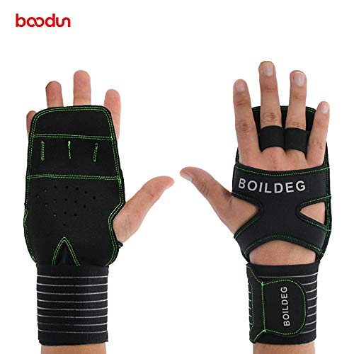 Fine Workout Fitness Protect Wrist Support Strap,Sports Ventilated Workout Gloves for Pull Ups, Cross Training, Fitness, WODs & Weightlifting (Green)