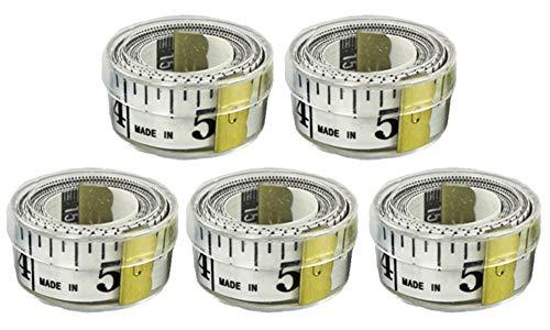 COM-FOUR® 5 meetlinten, maatmeetlint in cm en inch, meetlint voor maatwerk, 150 cm (05 stuks - wit)