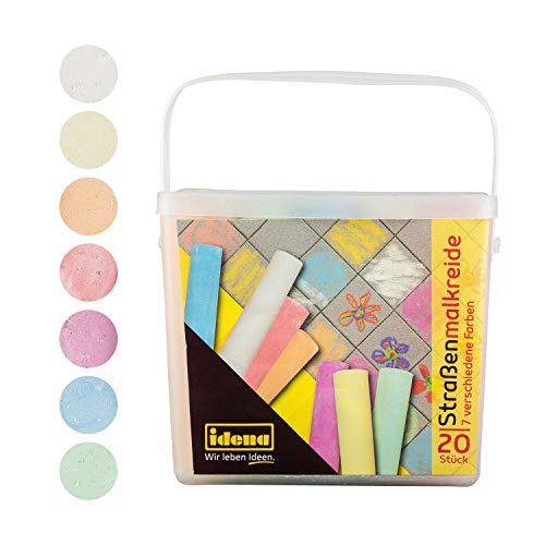 Idena 60042 - Straßenmalkreide in eckiger Box mit Henkel, 20 Stangen in 7 Farben, zum Bemalen von Asphalt, Pflaster oder Beton