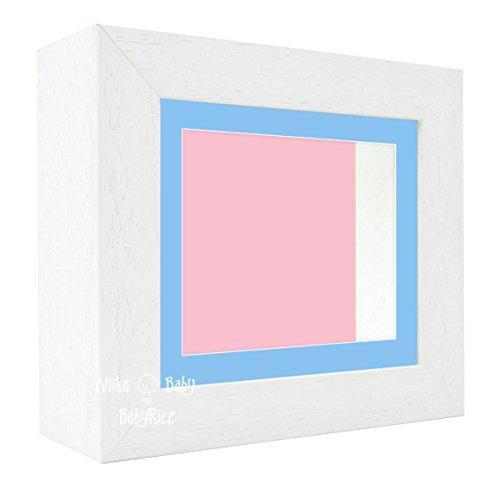 Bilderrahmen, 15,2 x 12,7 cm, mit blauem Passepartout und pinker Rückseite, Weiß