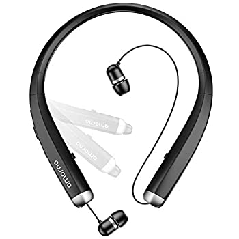 Bluetooth Headphones AMORNO Foldable Wireless Neckband Headset with Retractable Earbuds Sports Sweatproof Noise Cancelling Stereo Earphones with Mic