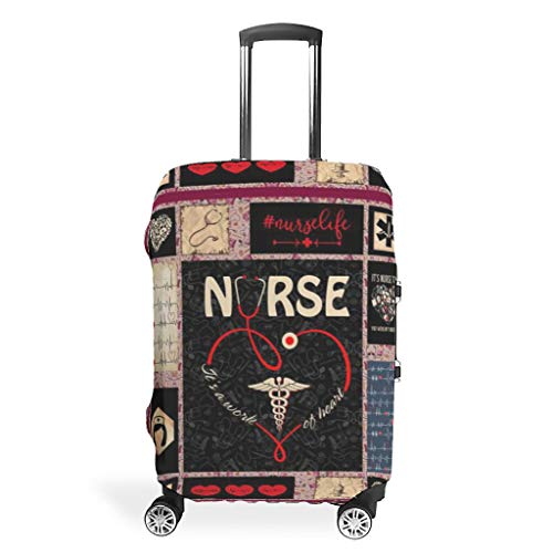 Luggage Cover Vintage Love Nurse Artwork Washable Suitcase Protector No Dirty Fit Easily Four Sizes to Choose Anti-Scratch Suitcase Cover Fits 18-32inch Perfect Gift for Traveler White 19-21in
