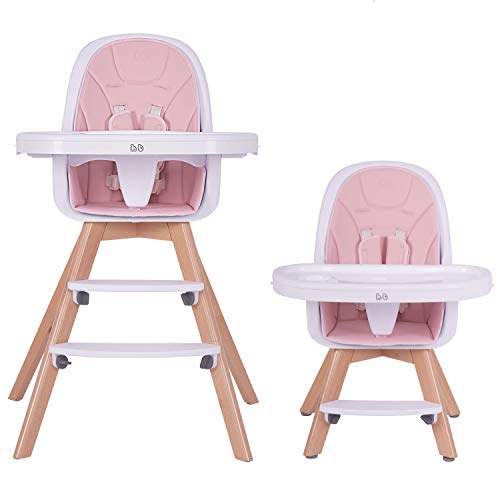 Product Image of the HAN-MM Baby High Chair with Removable Gray Tray, Wooden High Chair, Adjustable...