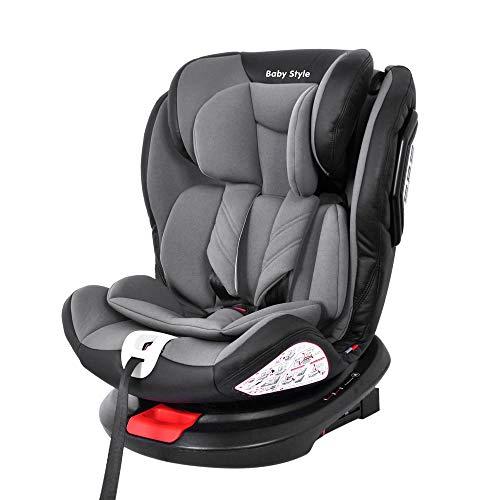Cadeira Bebê Auto 0 a 36kg Isofix rotação 360º Baby Style Cinza