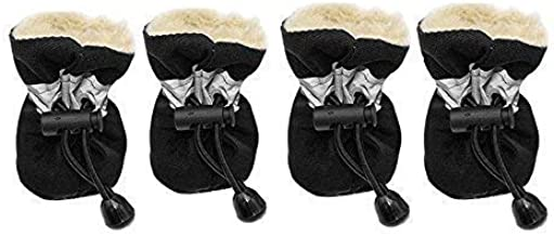 Winter Warm Dog Shoes Rubber Anti-Slip Pet Shoes for Cats Small Dogs Chihuahua Yorkie Puppy Thick Snow Dog Boots Socks 4pcs up to 11lbs