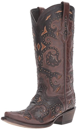 """Lucchese Womens Fiona Calf Snip Toe Western Cowboy Dress Boots Knee High Low Heel 1-2"""" - Brown - Size 8.5 W"""