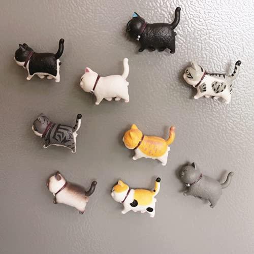 9 pegatinas para decoración de gatos con imán para nevera, diseño de animales