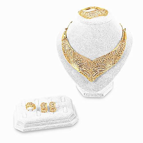 Women Gold Braccialetto Bangles Jewelry di sposa Imposta la Galassia del Cuore di Vuoto dichiarazione di stile Folk Style Gold Imitation Diamond Earring Gold for Christmas Wedding Party , Oro