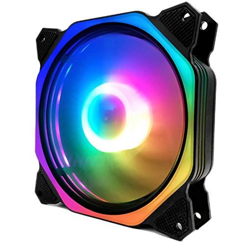 Mogzank Computadora PC SinfoníA RGB con Cambio de Color Ventiladores de Caja de Luz LED Enfriador de Computadora LED Ventilador de Enfriamiento (Colorido Dentro y Fuera del Cuadrado)