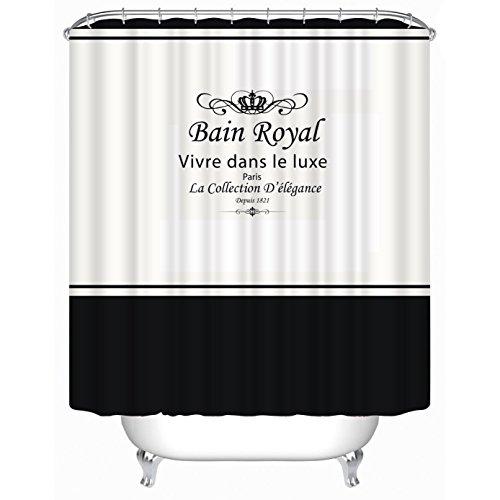 SunundHome 3D-Digitaldruck-Duschvorhang, wasserabweisend, antibakteriell & schimmelresistent, waschbar, 12 Haken, 180 x 180 cm (Bain Royal Vivre Dans Le Luxe Paris)