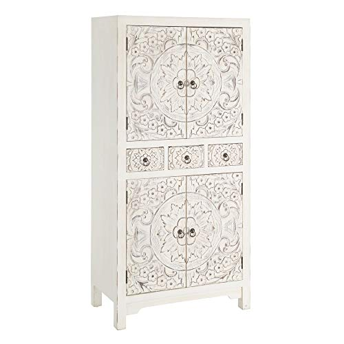 Lola Home Armario Blanco de Madera con 3 cajones y 4 Puertas Oriental para Dormitorio, 63x131x33 cm