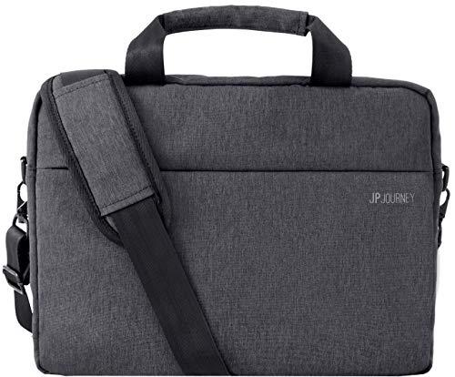 Schoudertas groot met laptopvak 13 tot 14 inch heren dames laptoptas grijs