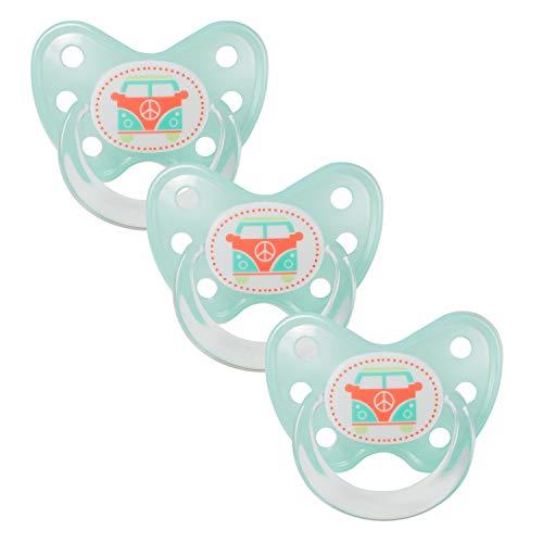 Dentistar® Schnuller 3er Set - Baby Nuckel Silikon in Größe 3 - ab 14 Monate - zahnfreundlich & kiefergerecht - Beruhigungssauger für Babys - Made in Germany - BPA frei - Türkis Bus