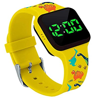 Potty Training Count Down Timer Watch With Lights And Music - Rechargeable, Dinosaur Yellow Band Engaging Pattern, Water Resistant, Potty Training Watch Yellow (No Vibration and No Alarm) by Athena Futures Inc.
