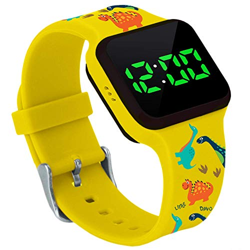 Potty Training Count Down Timer Watch with Lights and Music - Rechargeable, Dinosaur Yellow Band Engaging Pattern, Water Resistant, Potty Training Watch Yellow