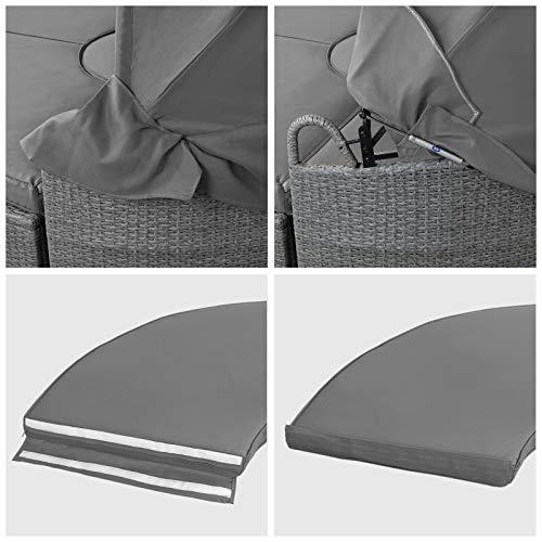 Montafox 13-teilige Polyrattan Lounge Muschel Sonneninsel Sonnendach Klappbar Zierkissen Auflagen 10 cm Dicke, Farbe:Kieselstrand - 6