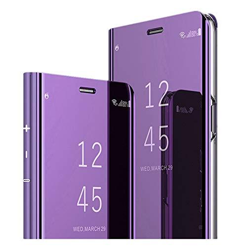 Kompatibel mit Samsung Galaxy A20 Hülle,Ultradünn Handyhülle Transluzent View Mirror Spiegel Standfunktion Smart Cover Bumper case für Samsung Galaxy A20 (lila)
