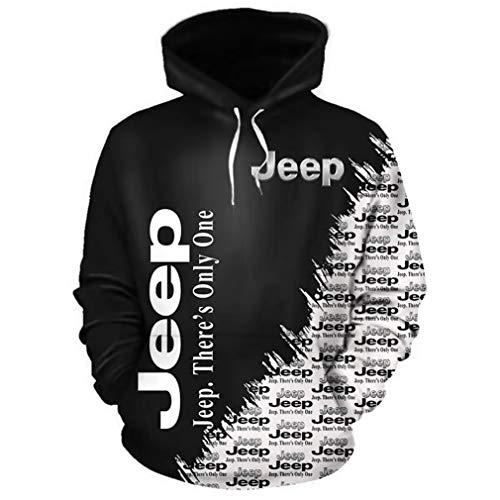Felpa con Cappuccio A Manica Lunga Unisex 3D Felpa con Stampa Digitale International Jeep Logo Felpa Casual (1,4XL)