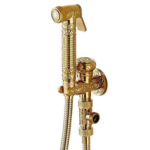 NJ-HH Metal Handheld Bidet Spray Set - Full Copper Angle Valve Bidet Washer Flusher Toilet Golden Spray Gun Mop Pool Washer Faucet Set Delicate Bidet