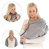 LaLoona Stillschal, atmungsaktives Stilltuch für unterwegs - Abdeckung/Tuch zum Stillen in der Öffentlichkeit - Still-Loop/Bolero aus Baumwolle - Grau