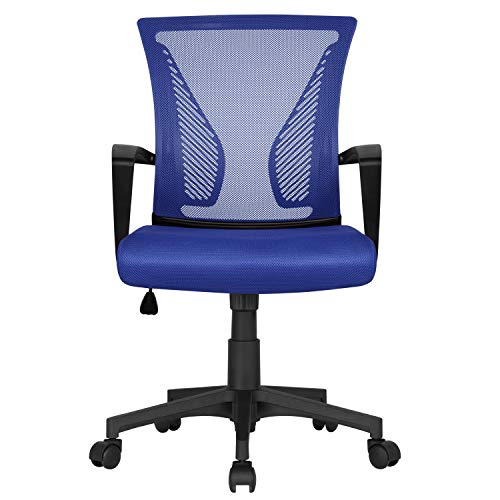 Yaheetech Blue Desk Chair Executive Computer Office Chair Ergonomic Swivel Chair with Comfortable Lumbar Support