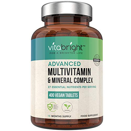 Vegan Multivitamins & Minerals - 400 Multivitamin Tablets - 1+ Year Supply - 27 Essential Active Vitamins & Minerals per Multivitamin Tablets for Men and Women - Made in The UK by VitaBright