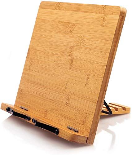 MICHAOブックスタンド ブックホルダー 34x24cm折りたたみ 書見台 本立て 竹製book stand 卓上筆記台 5段階角度調整 肩こり消し&近視防止 譜面台