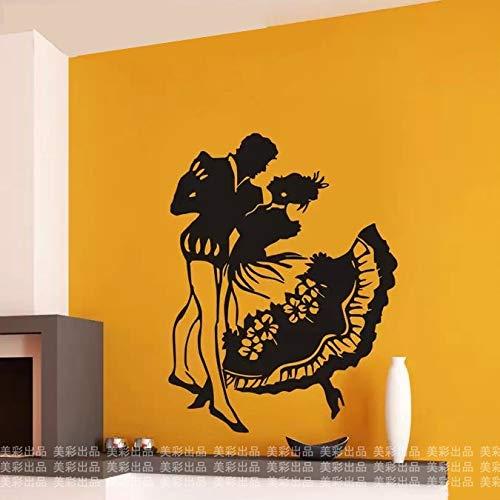 Adhesivos Pared Pegatinas de pared Bailarines latinos, pegatina de baile, decoración para habitación de niños, carteles de decoración del hogar, calcomanía de vinilo para coche y música 110x150cm