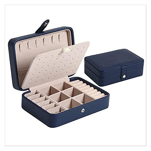 XLBH Almacenamiento de Joyas 2 Capas con cajón de Almacenamiento cosmético Multi Capa portátil de cajón PU Caja de joyería de Cuero Accesorios de casa (Color : Small One Navy, Size : S)