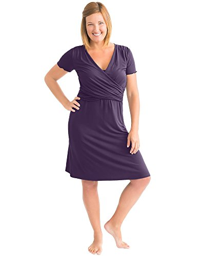 Kindred Bravely Ultra Soft Maternity & Nursing Nightgown Dress (Eggplant, Small)