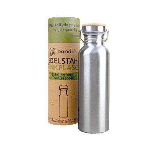 pandoo Edelstahl Trinkflasche 750 ml | Wiederverwendbare Wasserflasche, auslaufsichere Sportflasche mit Deckel, für Sport, Camping, Ausflug, Fahrradfahren | mit oder ohne Isolierung (Einwandig)