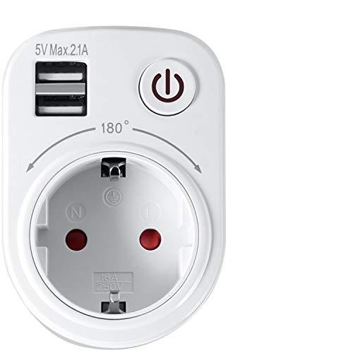 PAMIYO USB Steckdosenadapter, Steckdose Zu USB Adapter Reiseadapter EU Adapter Europe Deutschland Stecker mit 2 USB(2.1A), Reisestecker Stromadapter für Spanien, Frankreich Wand Steckdose
