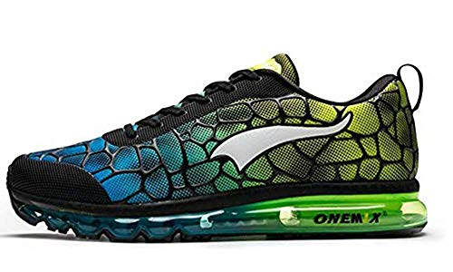 ONEMIX Air Cushion Running Shoes Sport léger athlétique pour Hommes Casual Casual Fitness Trainers Sneaker, Bleu Ciel/Vert, 39 EU