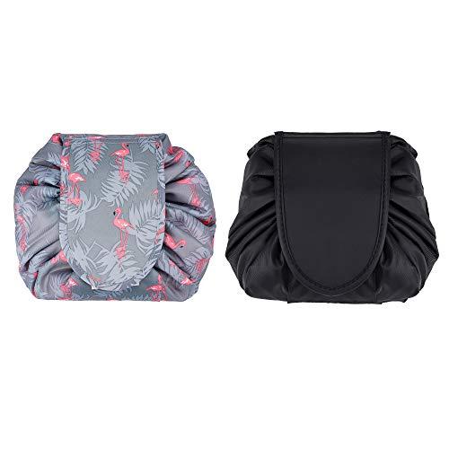 Bolsa de Cosméticos con Cordón 2 Pack Portátil Bolsa de Almacenamiento de Maquillaje Impermeable Gran Capacidad Bolsa de Maquillaje de Viaje para Mujeres y Niñas