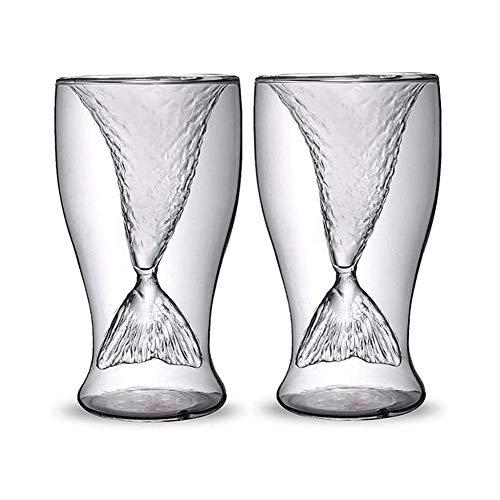 HLR Vasos de Whisky Jarra de Whisky Crystal Sirena Whisky De Vidrio, Transparente Cola De Pez De Cristal Práctica Creativa Taza del Vino Resistente Al Calor Tazas De Vidrio Bar