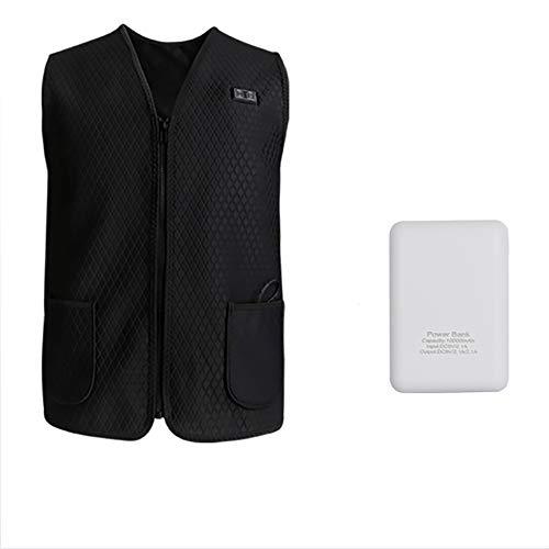 XDXDO Chaleco de calefacción USB, Chaleco de calefacción eléctrica Lavable, con calefacción de Zonas múltiples y función de calefacción de Tres etapas (con Fuente de alimentación móvil),L