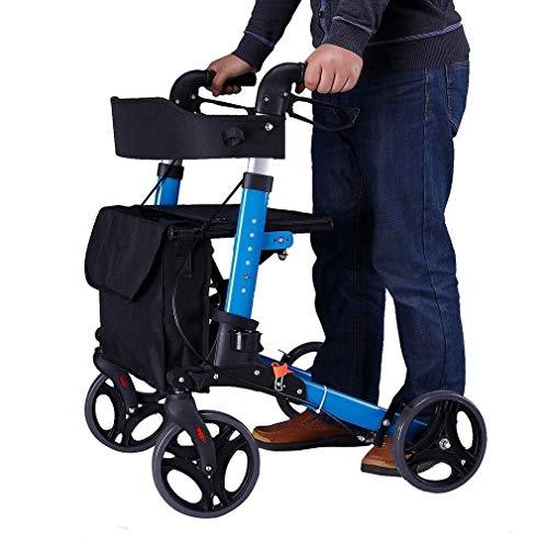 Walker, Elderly Manueller Allrad-Rollstuhl,Radroller Mit Rückenlehne, Sitz Und Tasche Standard-Walker-Laufrahmen Geeignet Für Ältere Menschen, Menschen Mit Unbequemen Beinen Und Füßen
